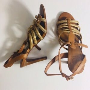 Tory Burch Gold strappy Heels size 8